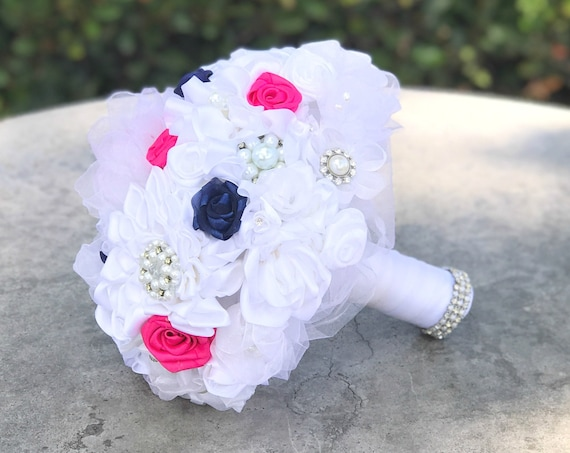 Satin ribbon brooch bridal bouquet - White, hot pink & navy blue