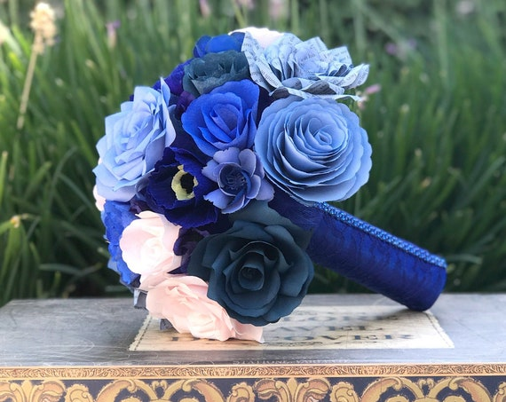 Alternative bridal bouquet - Shades of Blue and Blush Paper Flower Wedding Bouquet