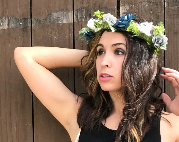 Floral Crown using Navy Blue, White and Gray Paper Flowers