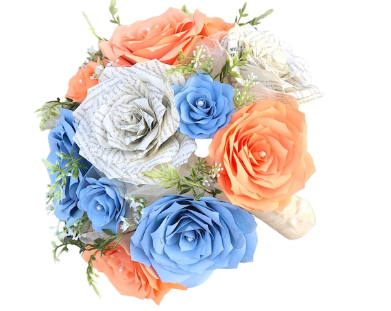 Peach & Blue Bridal bouquet using paper filter flowers and book page roses - Color choices