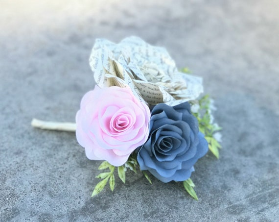 Book Page Paper Rose Boutonniere