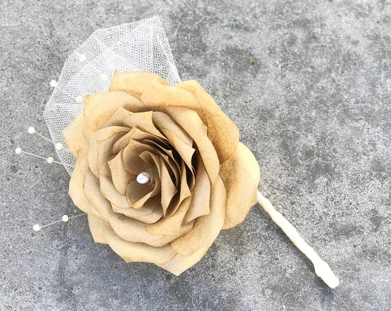 Paper rose boutonniere - Prom boutonniere - Wedding boutonniere - Customizable colors
