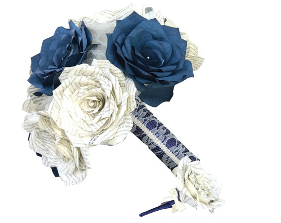 Book Page and Navy Blue Filter Paper Rose Bridal Bouquet - Colors are customizable
