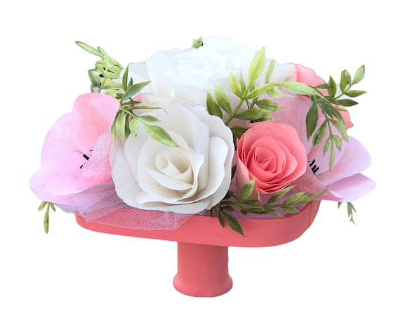Centerpiece in Coral and White Handcrafted Paper Flowers - Coral Floral Arrangement - Customizable colors