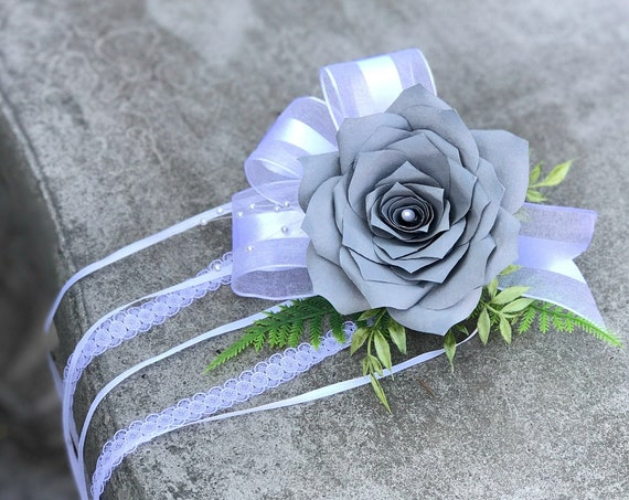Paper Flower Corsage - Wedding Paper Rose Ribbon Corsage - Choose your color