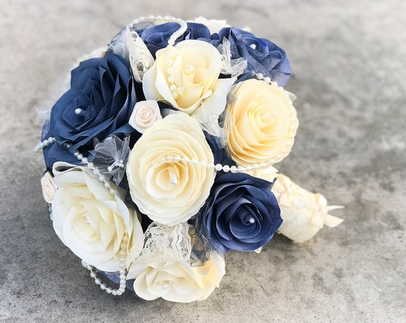 Bridal bouquet using paper filter flowers, pearls and lace - Customizable colors