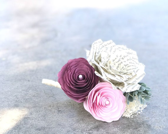 Pink peony and book page paper corsage or boutonniere - Customizable colors