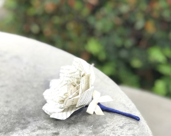 Book Page Paper Boutonniere - Customizable colors