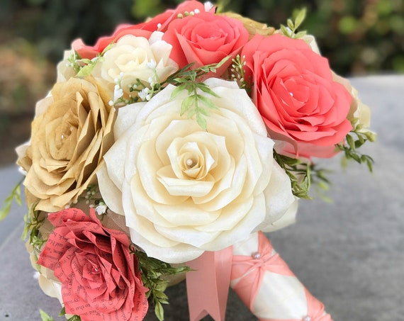 Bridal Bouquet shown in coral, gold and ivory handmade paper flowers - Colors are customizable