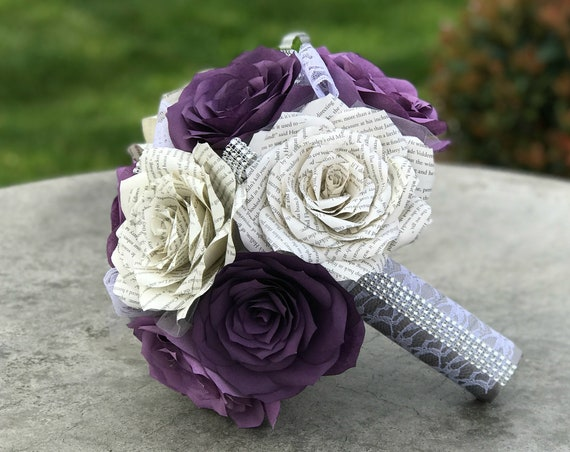 Paper book page and filter paper rose wedding bouquet shown in shades of purple - Colors are customizable