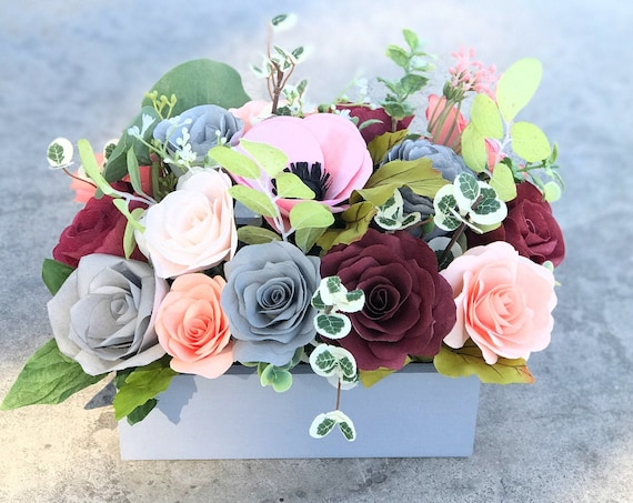 Gray and peach paper flower gift