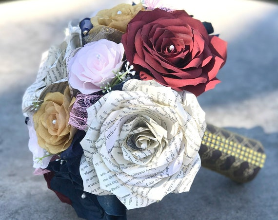 Wedding bouquet using handmade filter and book page paper roses - Customizable colors