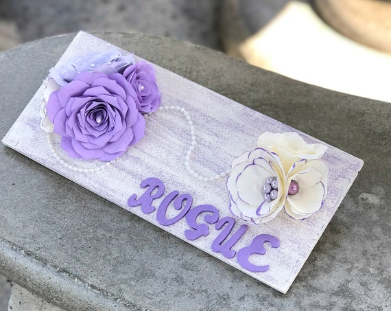 Girl's room personalized floral decor - 3D Wall Decor in customizable colors - Nursery decor