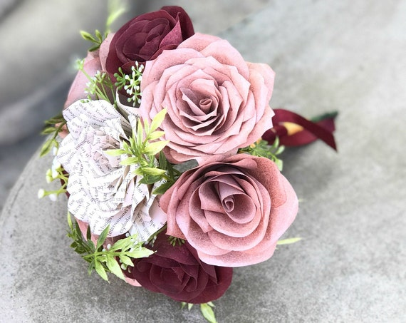 Rose gold & burgundy wedding bouquet - Book page and filter paper bouquet - Customizable colors
