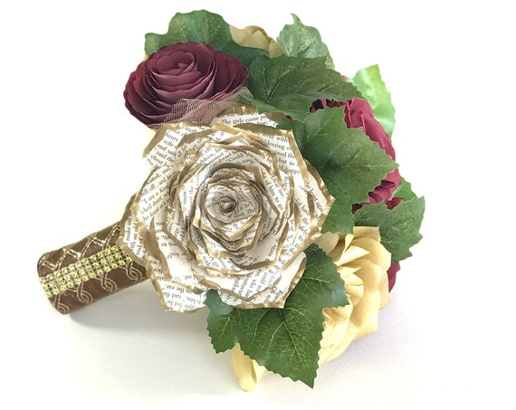 Gold and burgundy paper flower bridal bouquet in Customizable colors