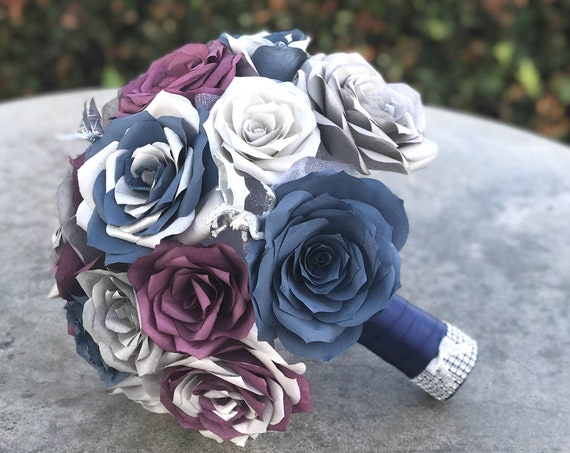 Dragon Bouquet shown in plum, silver & navy blue paper roses - Customizable colors