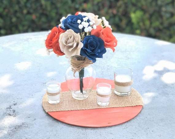 Burnt Orange, Navy Blue, Champagne paper flower centerpiece - Table Decor - Colors are Customizable