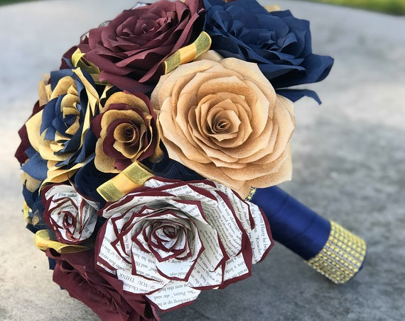 Bouquet shown in burgundy, gold & navy blue paper roses - Customizable colors