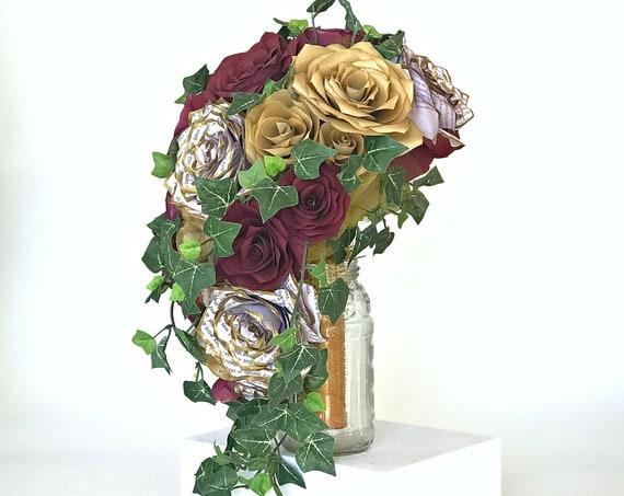 Gold and wine paper roses, peonies & book page flower cascading bouquet - Customize your colors
