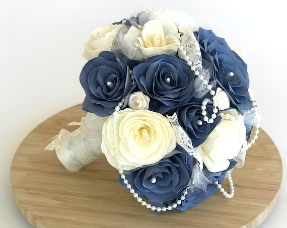 Navy blue and ivory bridal bouquet using paper filter flowers, pearls and lace - Customizable colors
