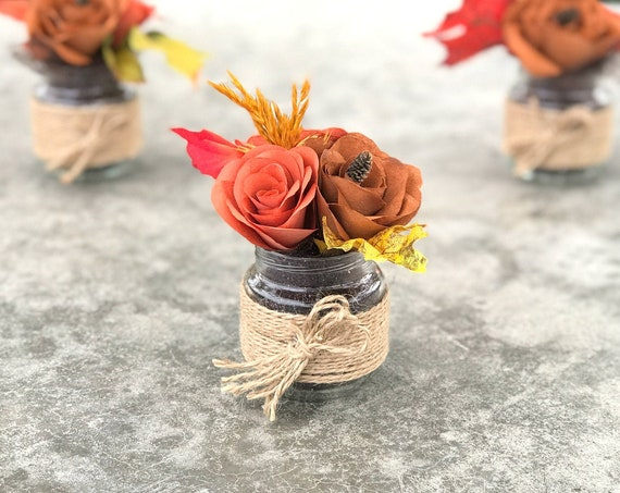 Tiny Rustic Jar Filled With Mini Paper Flowers