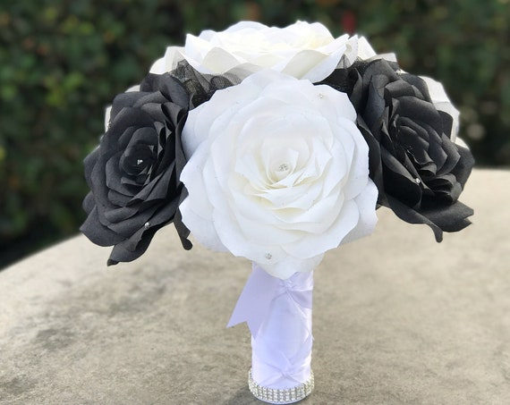 Paper flower wedding bouquet - Black and white rhinestone bouquet