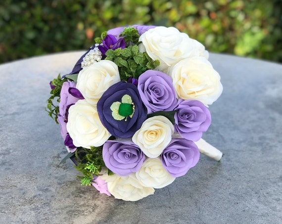 Lavender and purple paper flower alternative wedding bouquet - Customizable colors