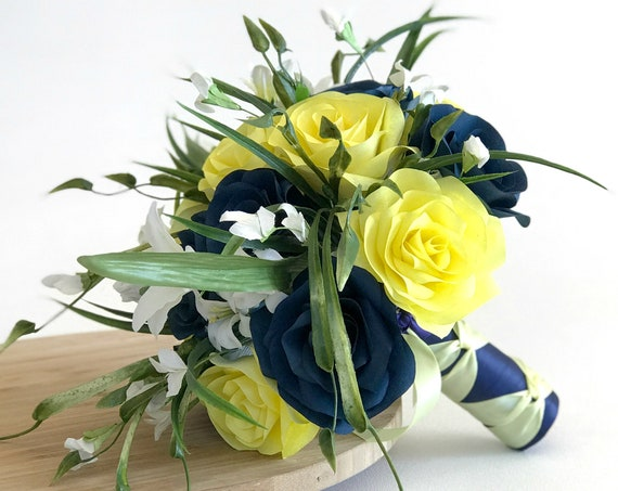 Navy blue and yellow filter paper flower bridal bouquet - Customizable colors