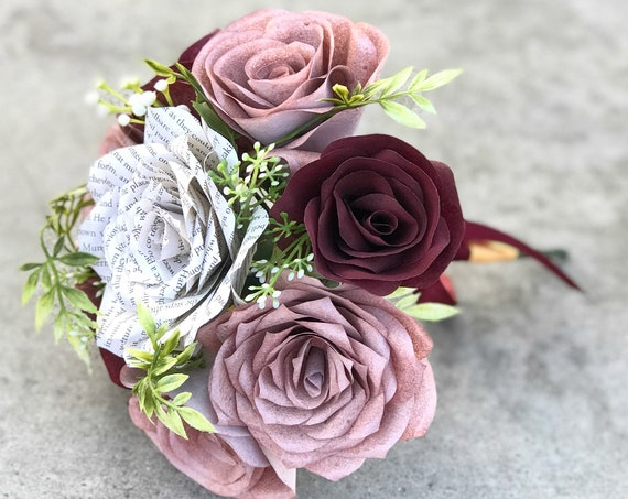 Rose gold & burgundy book page and filter paper bouquet - Flower girl bouquet - Customizable colors