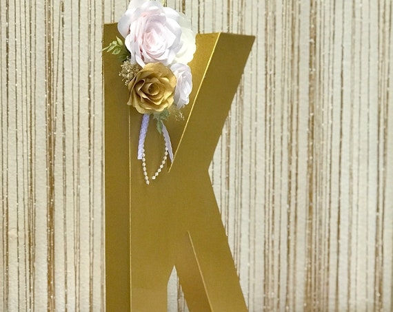 Floral Letter in Blush and gold Paper Flowers