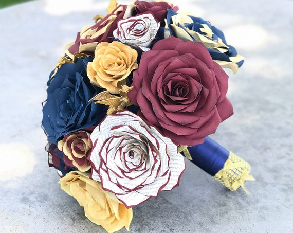 Dragon Bouquet shown in burgundy, gold & navy blue paper roses - Customizable colors