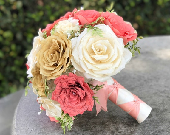 Alternative Bridal Bouquet shown in coral, gold and ivory handmade paper flowers - Colors are customizable