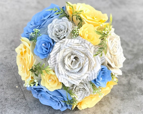 Yellow and Blue Wedding Bouquet - Bridal bouquet using paper filter flowers and book page roses - Color choices