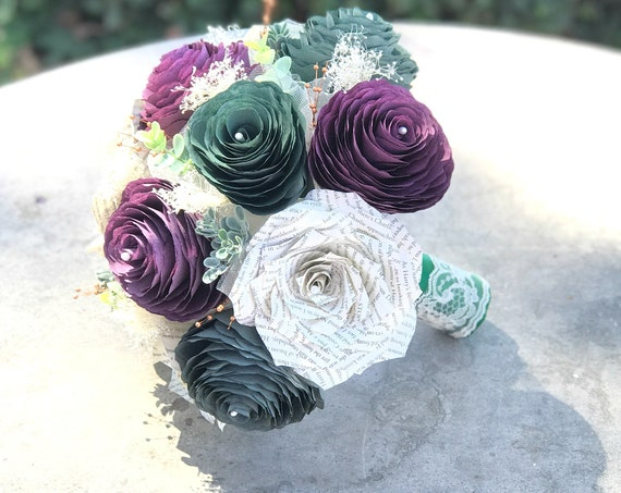 Plum, forest green and book page paper flower bridal bouquet - Customizable colors