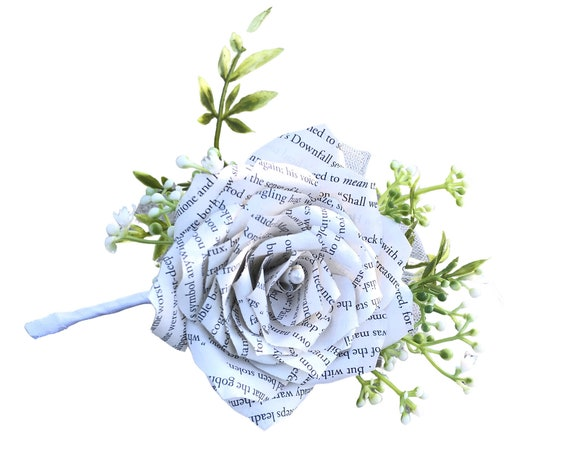 Book Page Paper Rose Pin on corsage or wrist corsage or Boutonniere