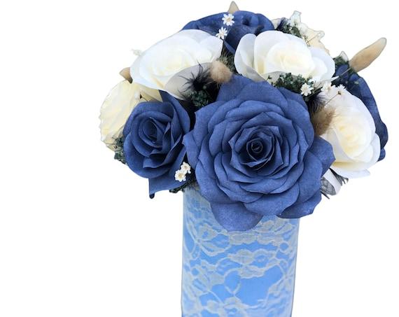 Navy Blue Paper Flower Centerpiece
