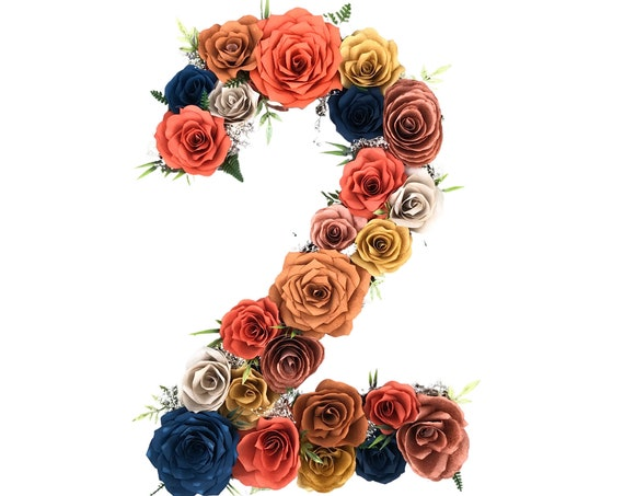 Paper Flower Letter or Number  shown in fall colors - Customizable Colors