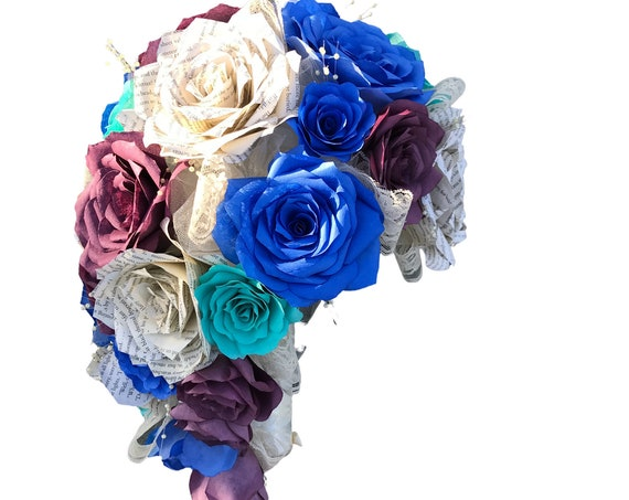 Cascading Bridal Bouquet shown in plum, royal blue, and aqua filter and book page roses - Customizable colors
