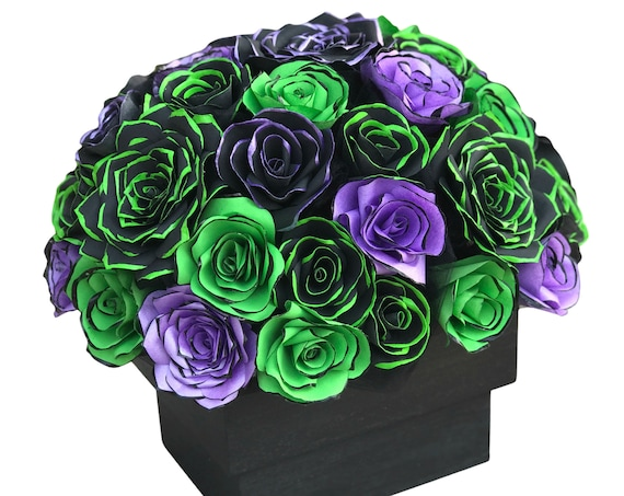 Centerpiece in Black & Lime Green and Purple Paper Flowers - Flower Table Decor