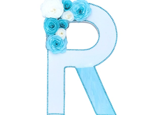Floral letter - Paper Flower Letter - Wedding initial - Nursery decor - Customizable colors