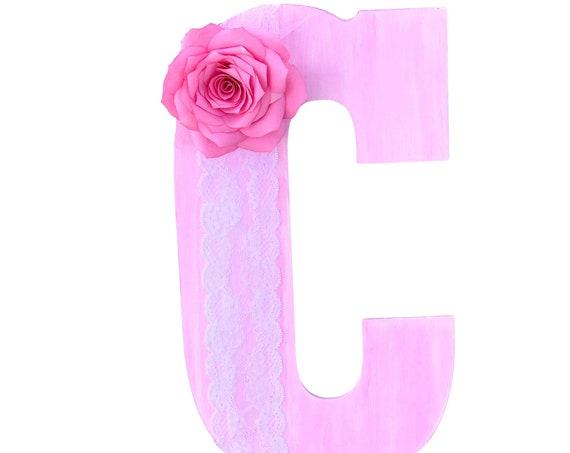 Floral letters - Pink wood floral letter - Floral nursery decor