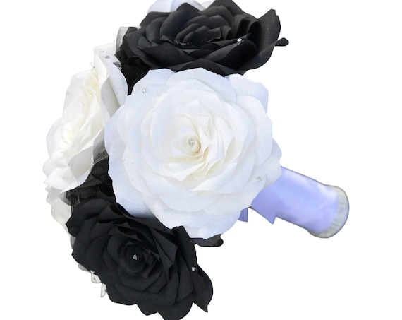 Paper flower wedding bouquet - Black and white rhinestone bouquet