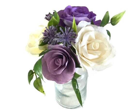 Champagne and lavender mini paper flower decor