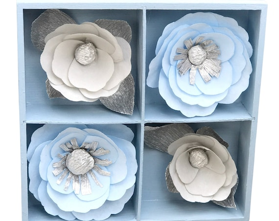 Blue and Silver 3D Paper Flower Wall Art