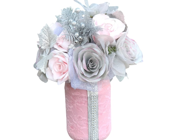Pink and Silver Paper Flower Christmas Centerpiece Decor
