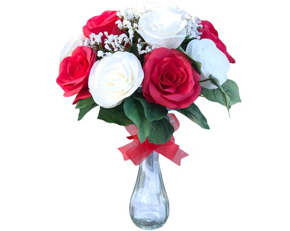 Red and White Rose Bouquet - Anniversary Gift bouquet - Get well flower bouquet