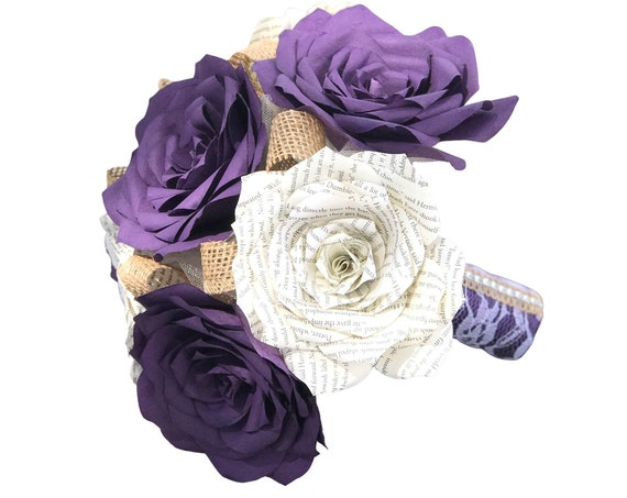 Rose bouquet in purple filter paper and natural book page roses with burlap accents in customizable colors