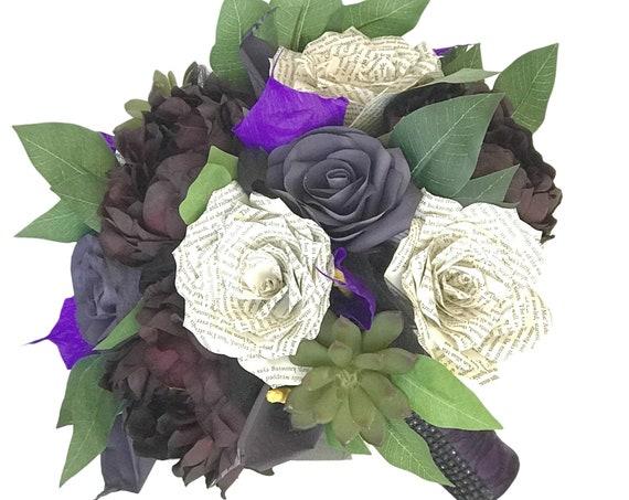 Dark purple succulent and calla lily bridal bouquet- Colors are customizable