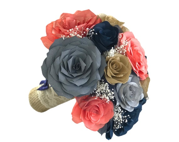 Wedding bouquet in coral, navy blue and shades of gray paper roses - Colors can be customized