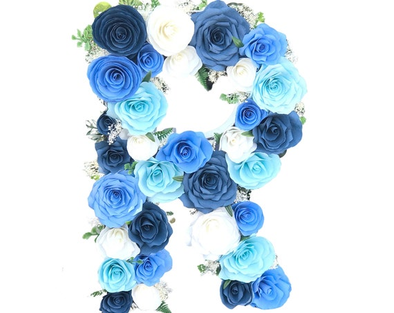 Paper Flower Letter or Number in Shades of Blue - Wedding Initial - Nursery decor - Customizable colors